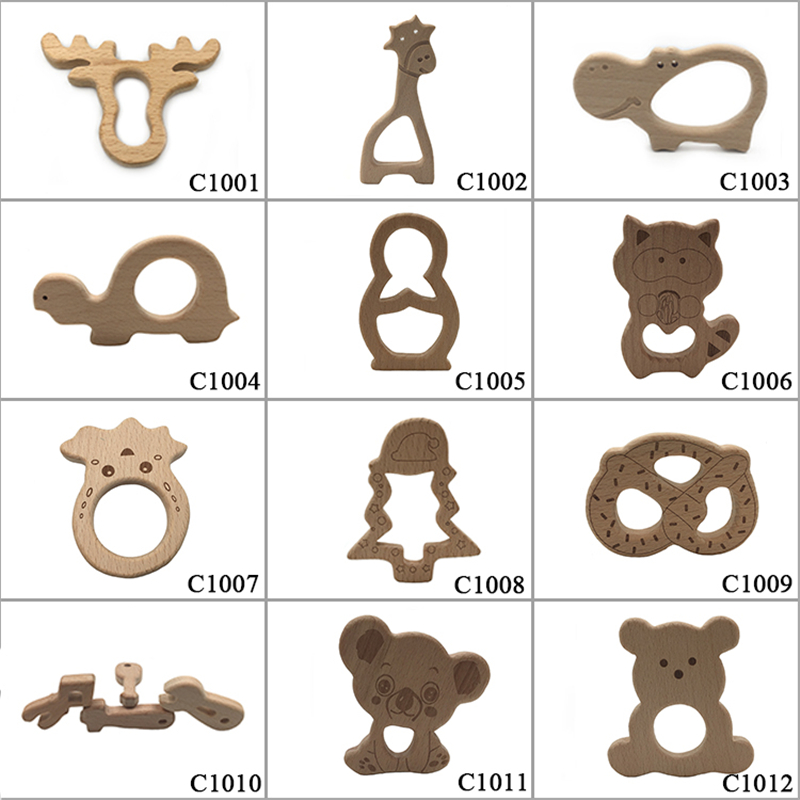 10pcs Safe Kara Teething Baby Teether Cute Antlers Design Wooden Ring Animal Shape Toy Handmade Wooden Teether-giraffe Teether