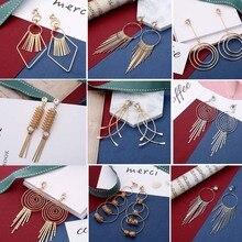 цена на Crazy Feng  Fashion Earrings for Women Gold Color Metal Tassel Earrings Long Hanging Peandientes Women's Jewellery Mujer 2019