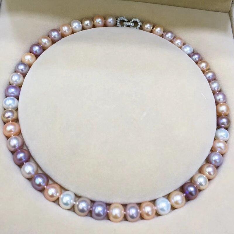 Sinya nouveauté très haute brillance et propre 10-11mm perles d'eau douce presque rondes collier chokers pour maman femmes dames