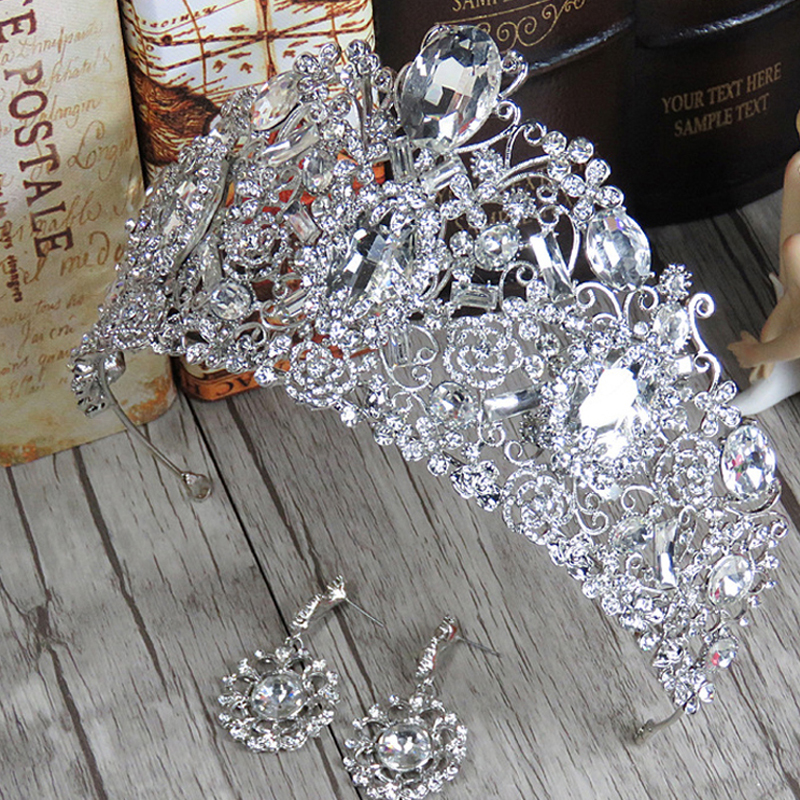 Vintage Baroque Huge Luxury Clear Crystal Queen Crown Headband Silver Rhinestone Bridal Tiara For Women Wedding Hair Jewelry new vintage gold color luxury baroque crown rhinestone crystal queen tiara big crown for bridal wedding hair jewelry accessories