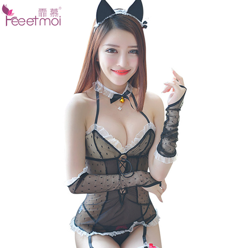 Feeetmoi Black Cat Girl Sexy Lingerie Set Lace Low Chest Deep V Vest Sexy Underwear Women Erotic Transparent Babydoll Sleepwear ...