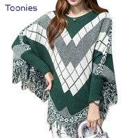 2016 Autumn New Fashion Elegant Cloak Sweaters Tassel Plaid Pattern Oversized Bat Sleeved Poncho Women Knitted