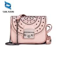 Genuine Leather Messenger Bags Brand Designer Summer Hollow Out Clutch Chains Cowhide Flap Bag Ladies Shoulder
