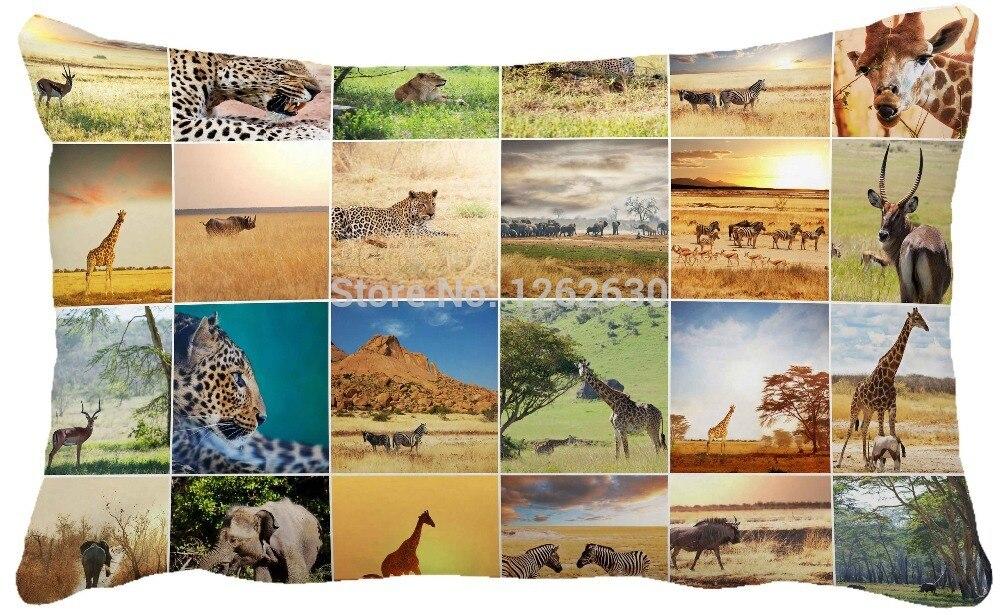 30cmx50cm Creative African Animal Wildlife Collages Print Custom Home Decor Throw Pillow Almofadas Decorate Pillow Sofa