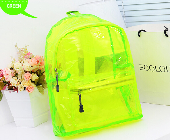 Neon Color Transparent Candy Crystal School Bag Backpack Women's ...