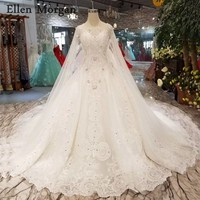 Ivory Ball Gowns Wedding Dresses with Cape Chapel Train Corset Custom Made Real Photos Puffy Princess Bridal Gowns 2019
