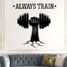 Gym Name Sticker Fitness Crossfit Hand Dumbbell Decal Body-building Posters Vinyl Wall Decals Parede Decor Mural Gym Sticker