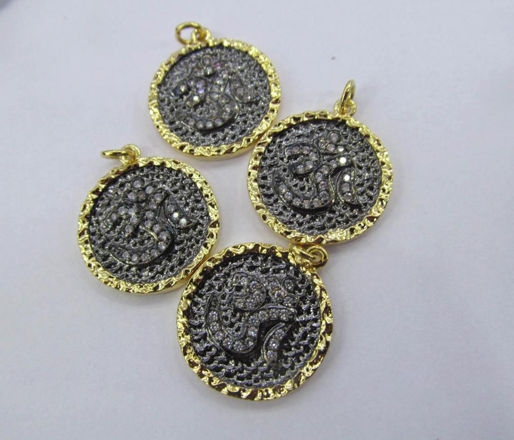 12pcs 20mm Micro Pave Diamond Connectors, Pave Black Diamond CZ , round disc pave CZ black Pendant black diamond black diamond oz