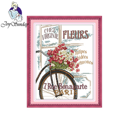 Joy Sunday,Flowers and bicycle,cross stitch embroidery set,printing cloth embroidery kit,needlework,cross stitch embroidery kit joy sunday magnolia flower cross stitch embroidery set printing cloth embroidery kit needlework flowers picture cross stitch kit