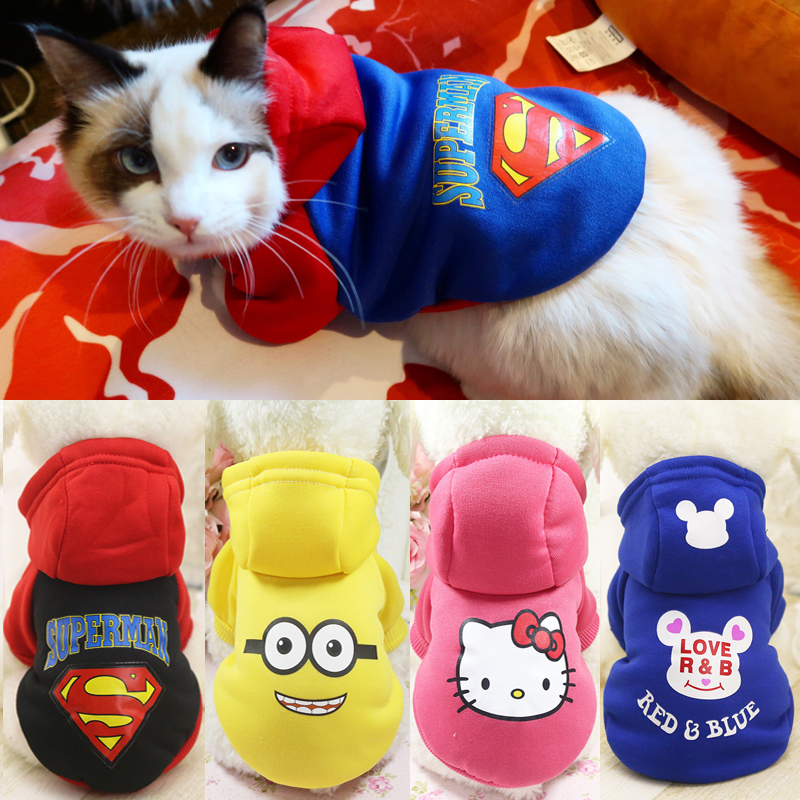Autumn/winter Warm Cat Hoodie Cartoon Costumes Clothes For Cats Soft Cotton Pet Clothes Cat Coat Jacket Kitten Clothing Overalls