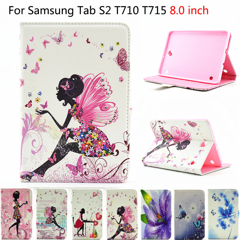 Tab S2 8.0 inch Case Cute Painted PU Leather Cover For Samsung Galaxy Tab S2 8.0 T710 T715 Case Tablet With Diamond Shell Funda new x line soft clear tpu case gel back cover for samsung galaxy tab s2 s 2 ii sii 8 0 tablet case t715 t710 t715c silicon case
