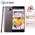 "Original oneplus 3 t a3010 mobile phone quad core snapdragon 821 android 6.0 6 gb ram 64 gb rom 5.5 ""Impressão Digital 16MP 3400 mAh NFC"