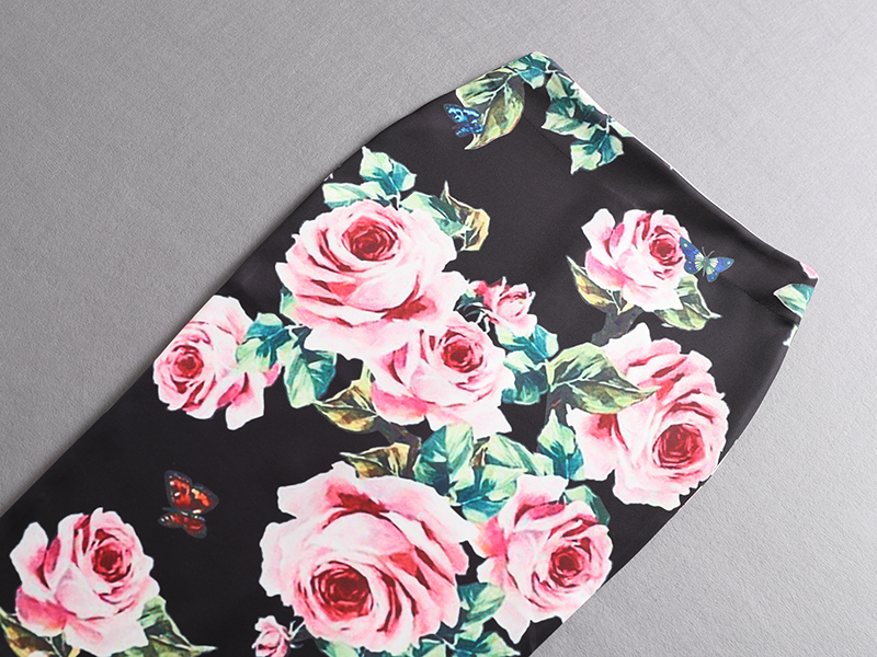 Noir Nouvelle Femme Filles Femmes Noir Saias blanc Crayon Rose Arrivée D5001 Mince Midi Lady Fleur Imprimer Bas Faldas Jupes PwqrPAvS