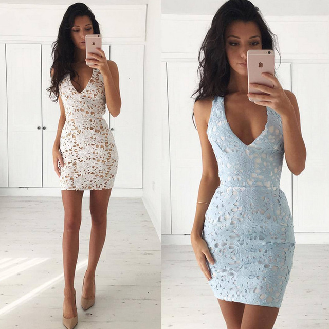 7648810eb358 Khaki Light Blue Lace Hollow Out Backless Cross Deep V Neck Bodycon Sexy  Mini Slip Dress Sleeveless Off Shoulder Vestidos Dress