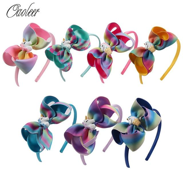 Fashion Girl Cartoon Hair Bow Headband Boutique Rainbow Printed Handmade Ribbon Hairbands Children Hair Accessories 1