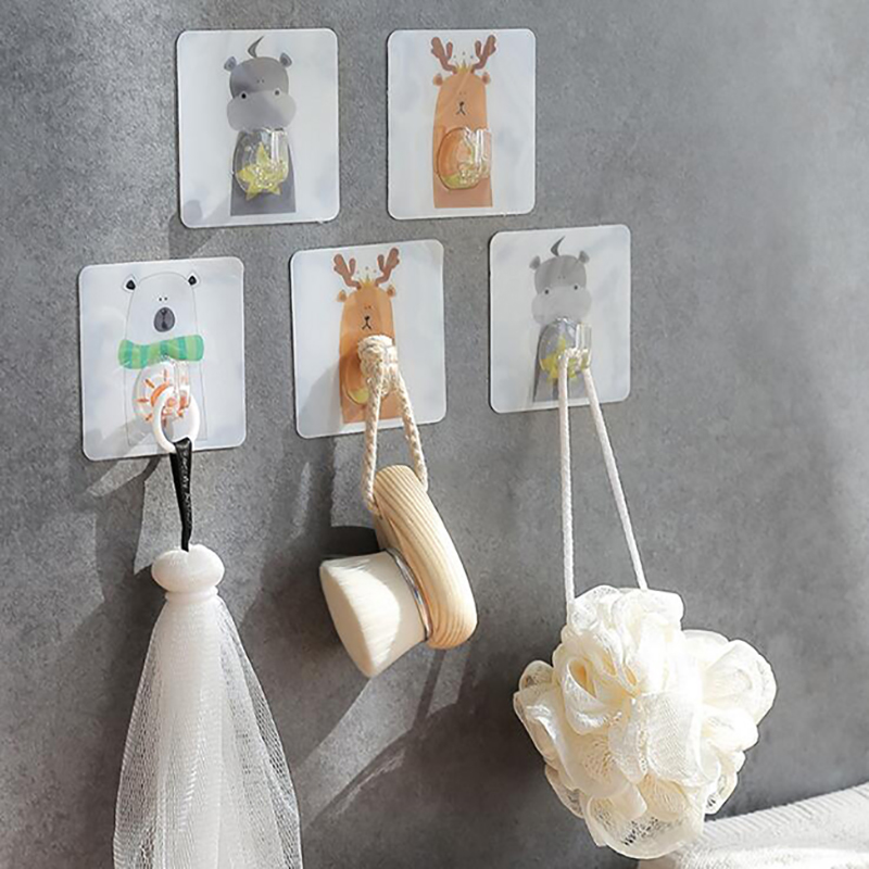 Animal Cartoon Pattern Bathroom Kitchen Strong Adhesive Hooks Organizer Stick On Wall Hanging Door Key Clothes Towel Holder