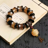 Handcrafted Sheep Horn Beads Bracelet Tibetan Yak Horn Beads Mala Bracelet Wealth Pixiu Amulet Bracelet