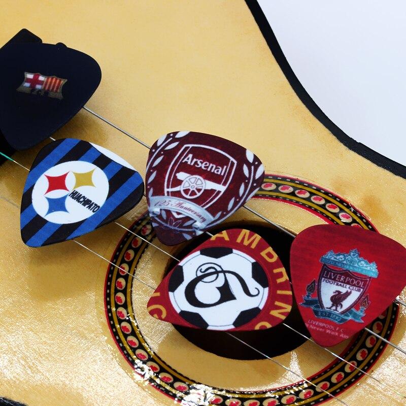 SOACH 10pcs / Lot 0.71mm Thick Football Team Club Design Guitar Strap Guitar Accessories Guitar Pick Pedal Guitar Accessories