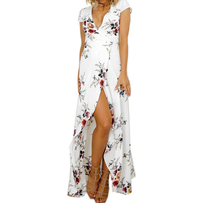 Boho Strand Weiß Sommer Langes Kleid frauen Kleidung Weiße Blume Gedruckt Kleid Sexy V-ausschnitt Split Fit Flare Party kleider Vestido
