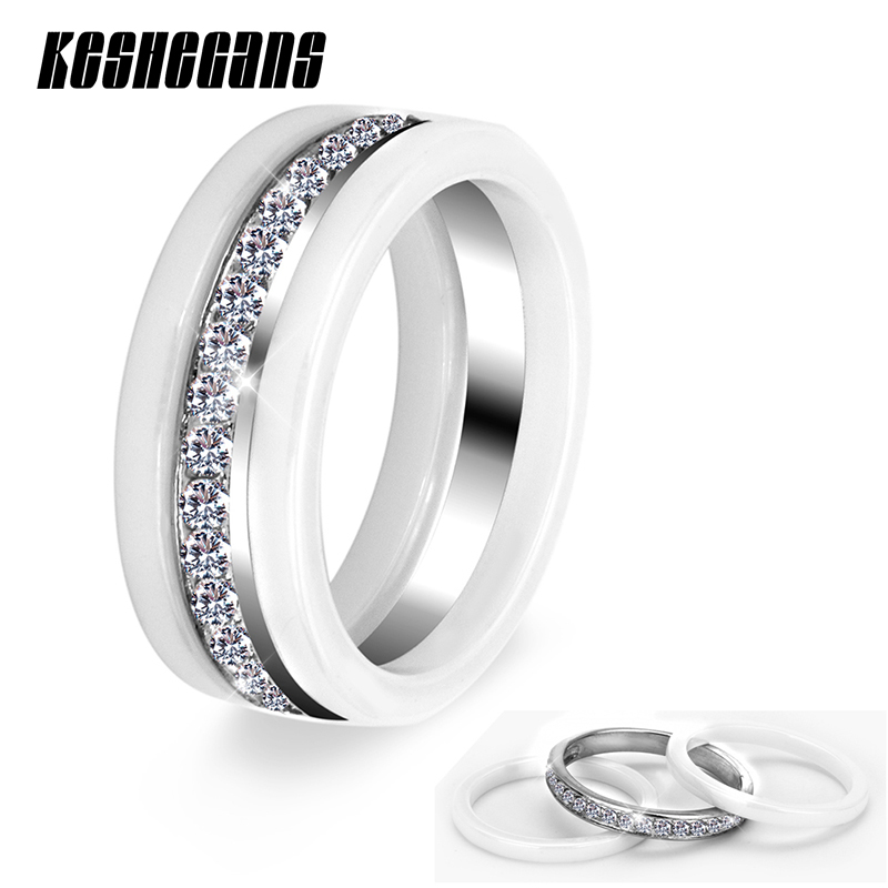 New Fashion Jewelry 3pcs/Set Trendy Ring With Half Circle Bling Drilling White Color Gift For Women Girl Healthy Ceramic Rings