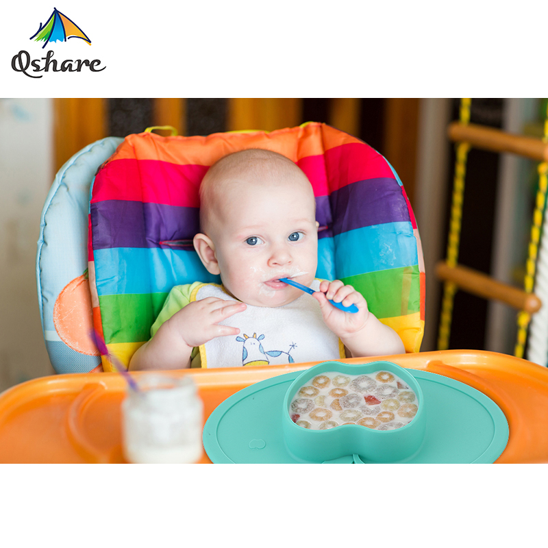 Qshare Baby Bowls Plate Tableware Silicone Children Food Container Infant Feeding Cup Baby Dishes Child Kids Feed Plate