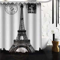 Custom Frech Paris Eiffel Tower City Of Love Black White Shower Curtain 48 X 72 60