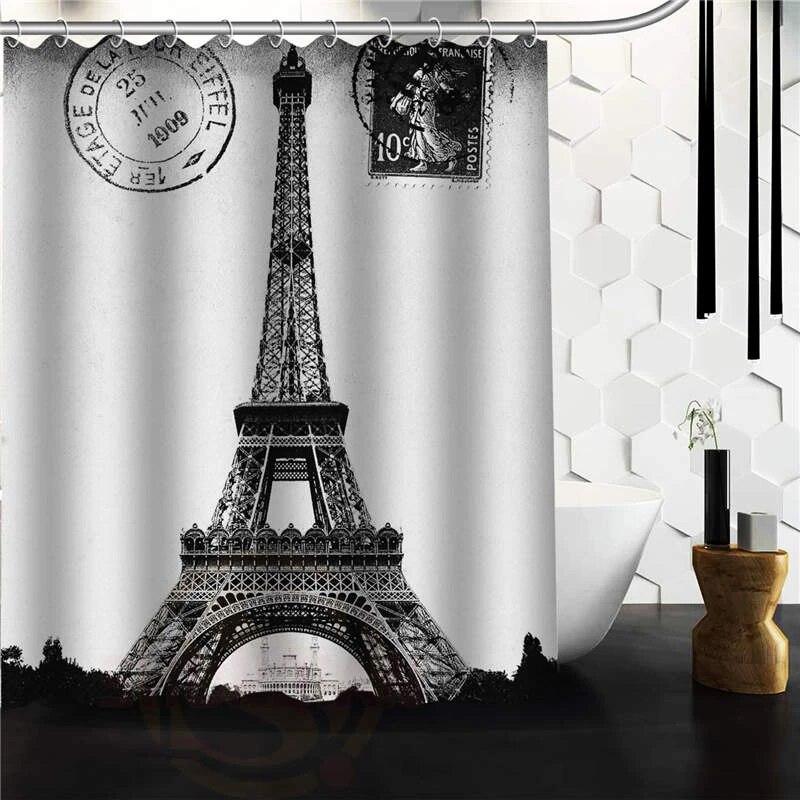 custom frech paris eiffel tower city of love black white shower curtain 48 x 72 60 x 72 bathroom