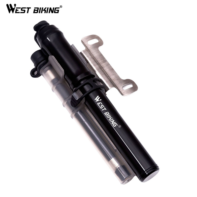 WEST BIKING Portable Bicycle Pump Aluminum Ultra-Light Mini Inflator Hand Air Pump MTB Mountain High Pressure Cycling Bike Pump