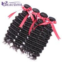 Beaudiva волосы магазине перуанской глубокая волна пучки волос 100% Человеческие волосы Weave Связки не Волосы Remy расширения ткачество