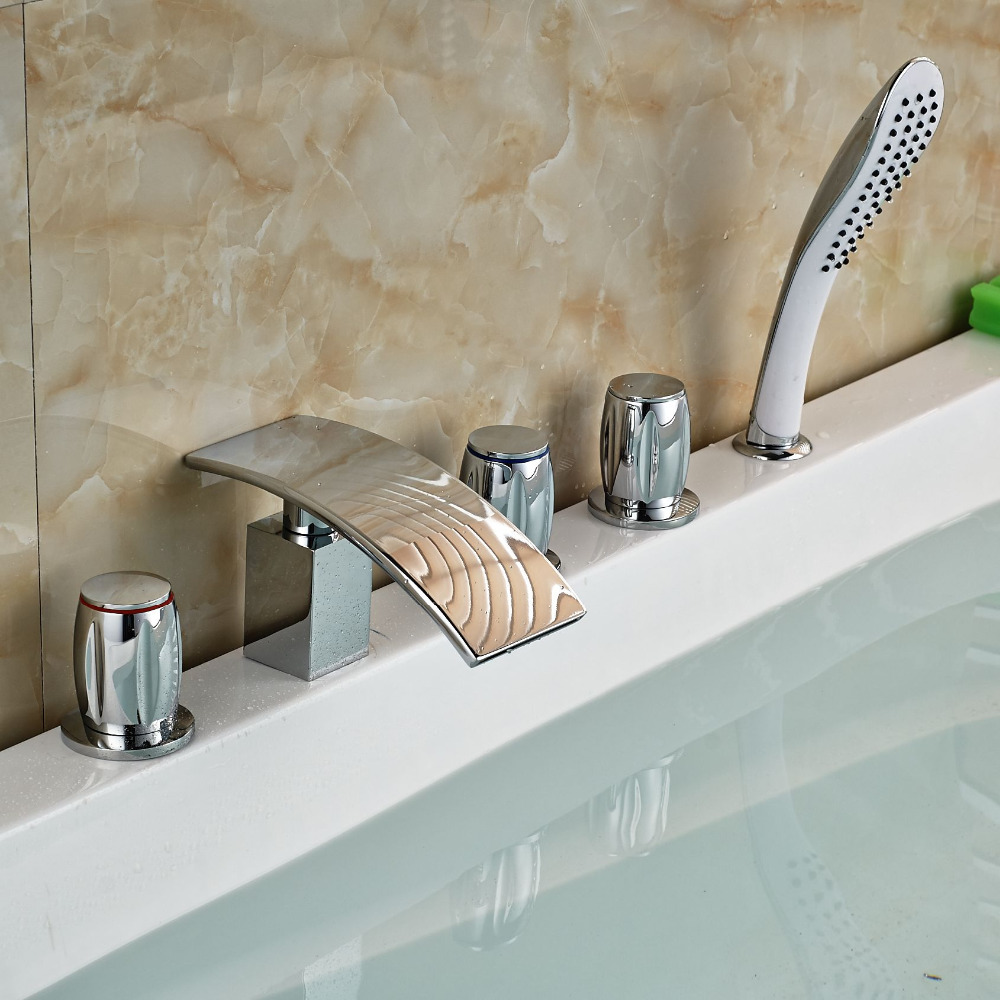 Waterfall Widespread Bathtub Faucet Tap with Hand Shower Deck Mount Mixer Taps Chrome Brass