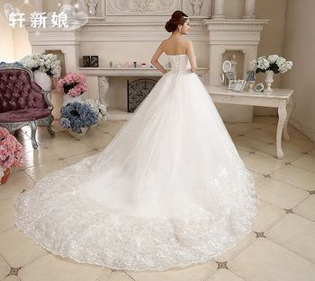 2017 new stock plus size women pregnant bridal gown wedding dress long tail train strapless lace white sexy sleeveless ball gown