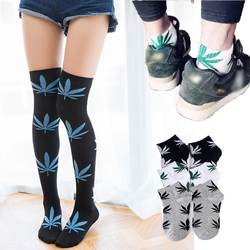 LNRRABC 1Pair Women Men Comfortable High Quality Cotton Socks Marijuana Leaf Maple Leaf Casual Long Weed Ankle Sock Stockings image