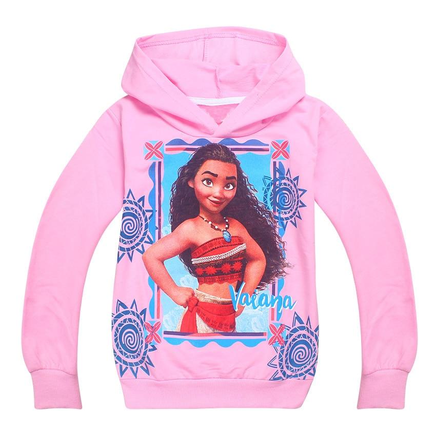2017 New Girls Hoodies Moana Top Childrens Sweatshirts for Girls Cartoon Kids Outwear for Boys T Shirts Vestidos Costume