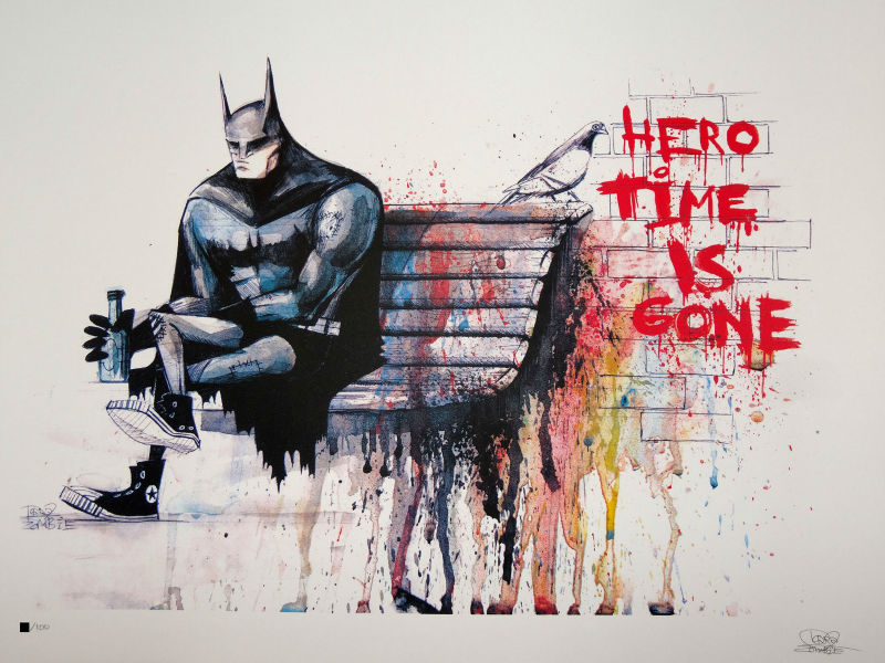 Banksy Hero Time is Gone CANVAS Art Print Home Art canvas painting wall pictures for living room wall art home decoration A/1047