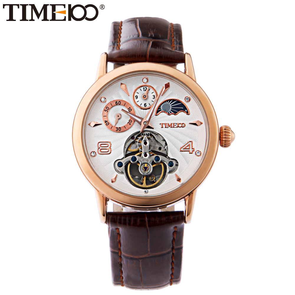 Time100 Men's Automatic Self-Wind Skeleton Mechanical Watch Sun Phase Gold Alloy Case Brown Leather Strap Wrist Watches For Men women favorite extravagant gold plated full steel wristwatch skeleton automatic mechanical self wind watch waterproof nw518