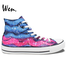 Wen Original Design Hand Painted Shoes Pink Blue Stripes Pattern Men Women's High Top Canvas Sneakers Birthday Gifts