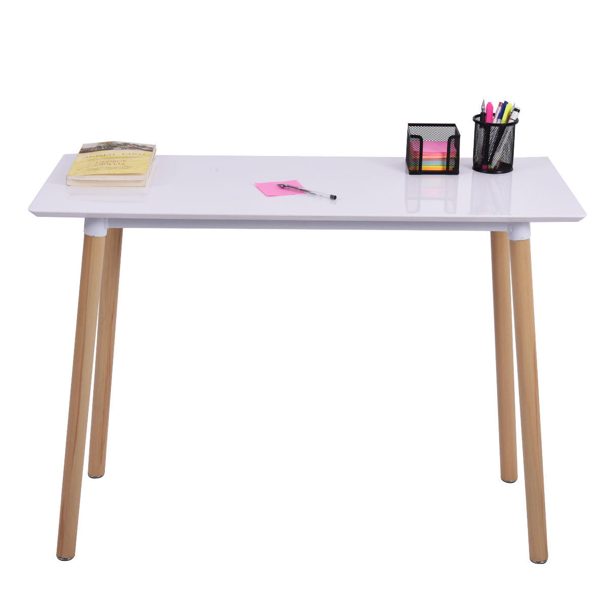 Giantex White Writing Desk Modern Computer Table Home Office Furniture Workstation Learning Tables HW54027 стоимость