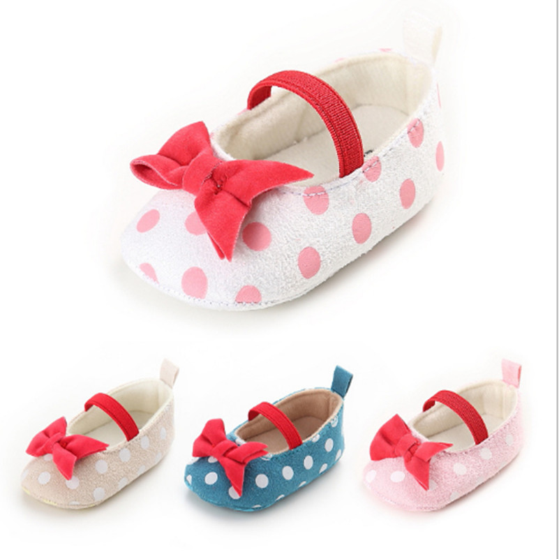 Romantic Spring And Autumn 0-1 Years Old Girl Baby Polka Dot Butterfly Knot Princess Shoes Baby Toddler Shoes Baby Shoes