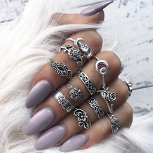 2018 new 11pcs/Set Boho Vintage Punk Antique Flower Carved Midi Finger Rings For Women Bohemian Knuckle Ring Set Jewelry Anillos