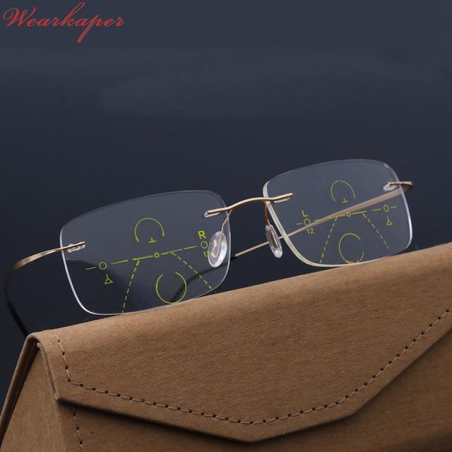 WEARKAPER Smart Progressive Photochromique Lunettes de Lecture près ou de  loin Multifonction sans monture lunettes Multifocales b8cecbcd182b