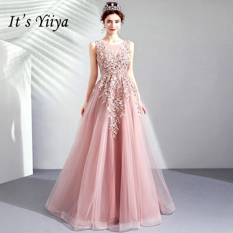 C'est YiiYa robes de bal rose o-cou sans manches a-ligne perles étage longueur longue robe de soirée personnalisé grande taille robe de bal 2019 E283