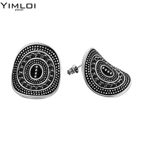 Vintage Round Design Studs Earring For Women Men Fashion Black Stainless Steel Cubic Zirconia Jewelry Earring