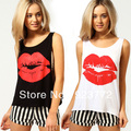 T-shirt das mulheres Vest O-Neck Regatas Lábios Vermelhos Brilhantes Impressão Solto Moda Curto Colete Assentamento T025 Frete Grátis