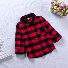 Детская рубашка в красную клетку; хлопковые рубашки в клетку с длинными рукавами для маленьких мальчиков и девочек; детская блузка в клетку; Осенние Топы; повседневные блузы для малышей