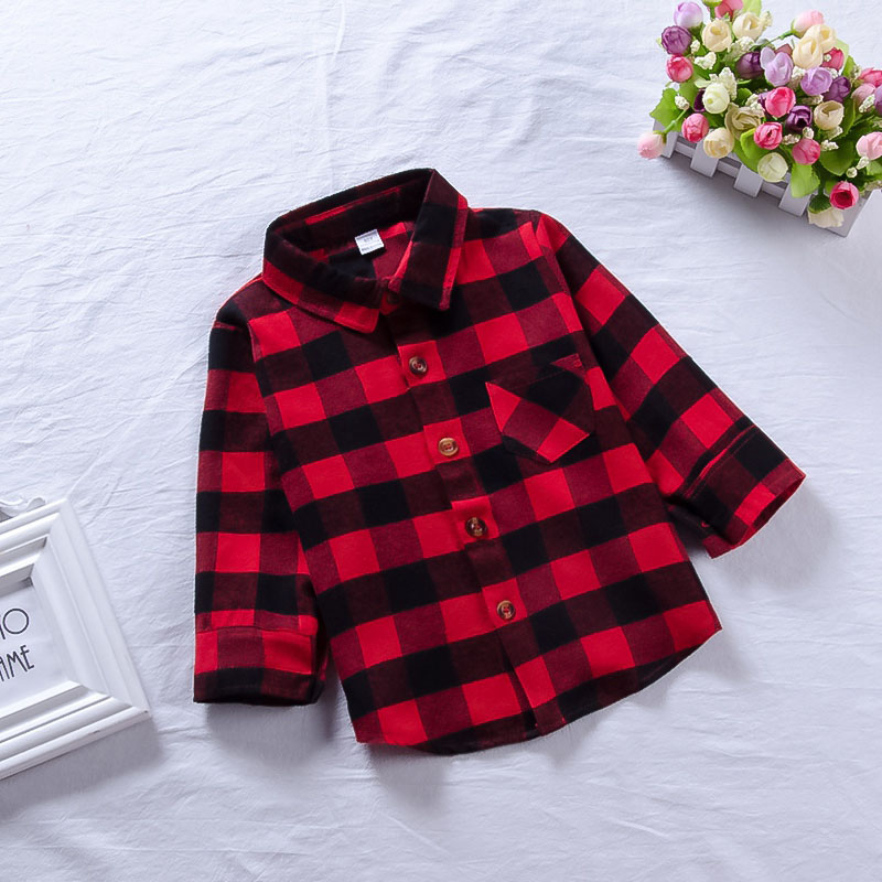 Children Red Plaid Shirt Baby Boys Girls Cotton Long Sleeve Plaid Shirts Kids Plaid Blouse Autumn Tops Toddler Casual Blouses plaid