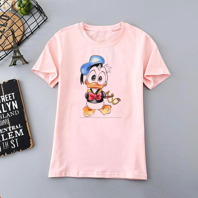 Simple  and Fashionable Women T – Shirt with Cartoon Print for Female