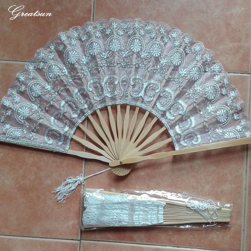 2017 Greatsun New Style 1PC Ivory White Silver Handmade Vintage Batten burg  Lace Fans For Wedding Accessories Hot Sale