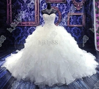 free shipping vestido de noiva 2019 robe de mariee mariage sweetheart beading Organza ruffles Wedding Dress Bridal ball Gown