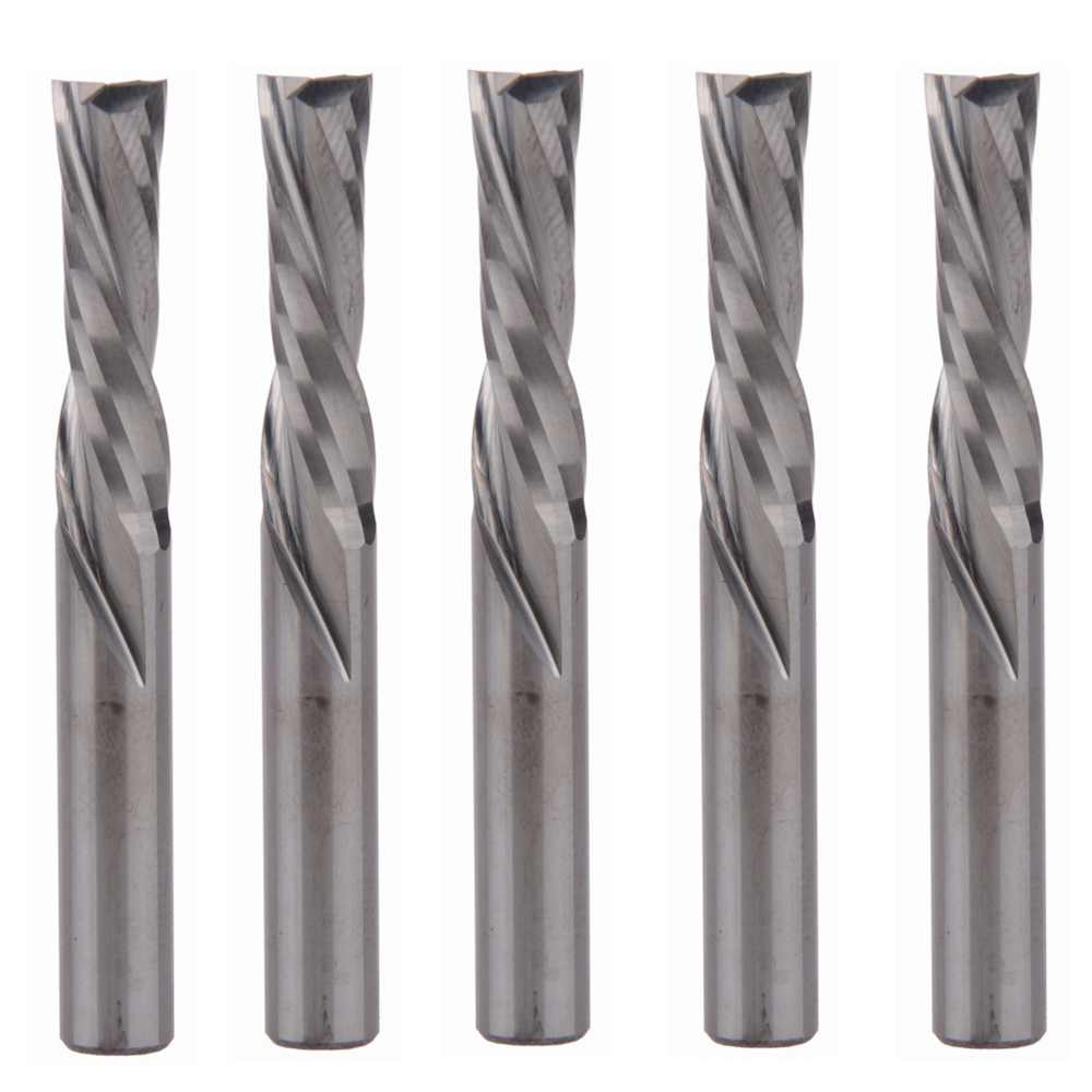 5pcs AAA 6x22mm Left Handed DOWN Cut Two Flutes Spiral Carbide Mill Tool Cutters for CNC