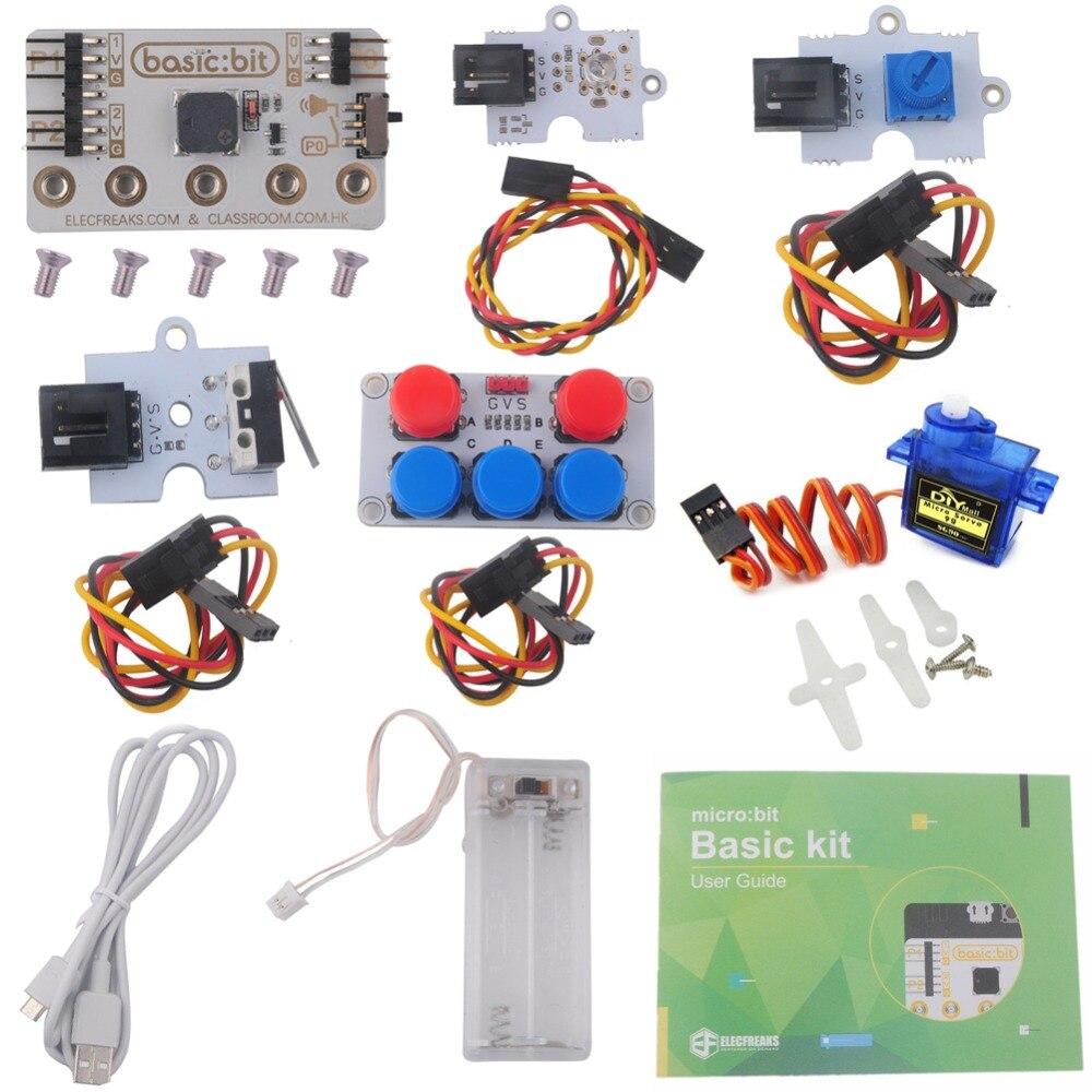 For Microbit Basic Kit, LED Module Crash Sensor Potentiometer Servo Starter Kit Without Micro:bit Board, DIY Beginners Program